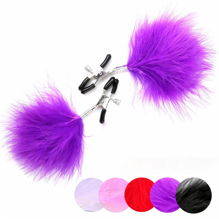 Sexy Lady Big Breast Clips with Feather Nipple Clamps fo