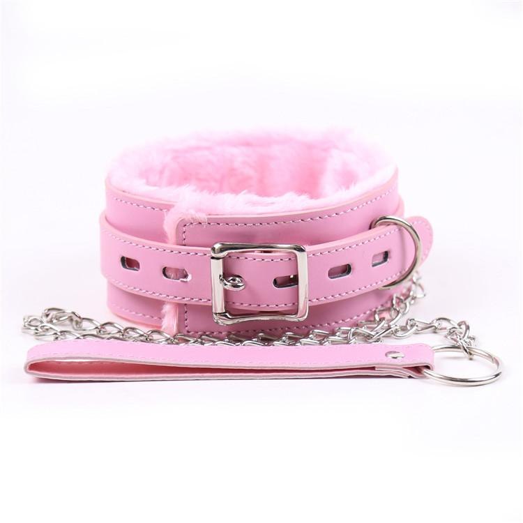 BDSM Bondage Pink Neck Collars Sex with Chain For Coupl