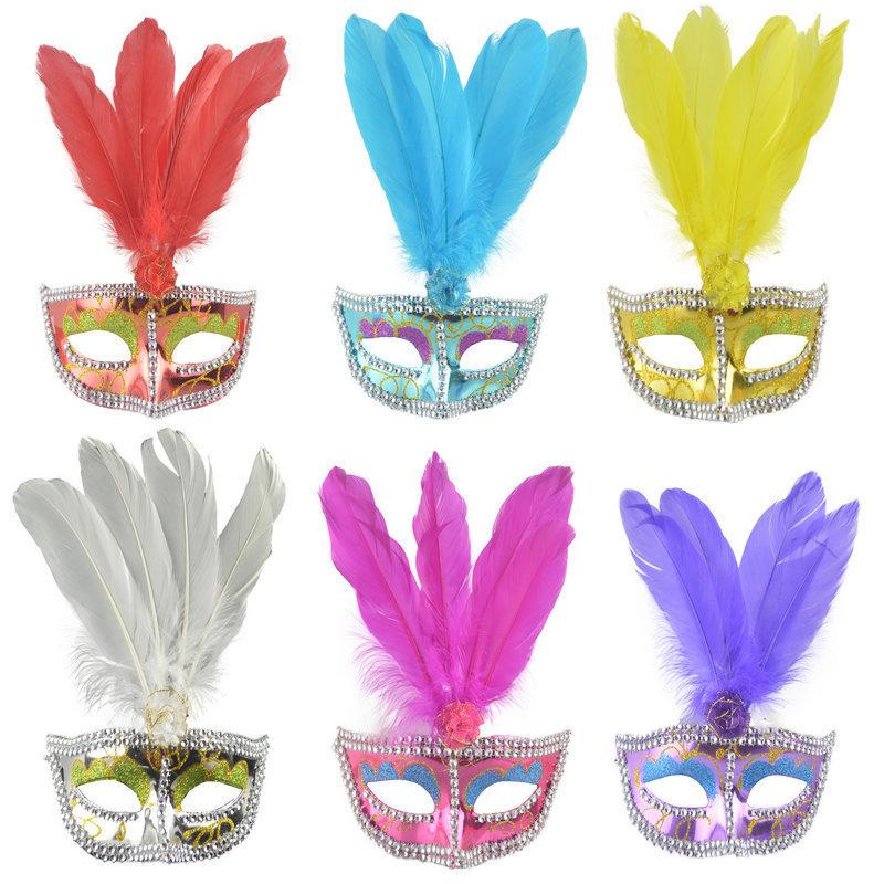 Party Masks Festival Props Venetian Eye Mask Gold Powder Painted Feather Mask with Rh