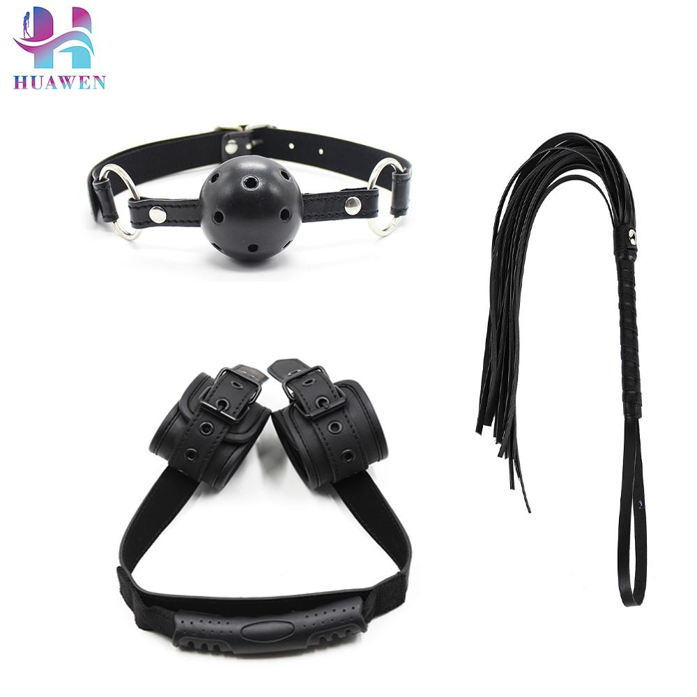 Good Selling 3PCS Leather Sex Toys Back Handcuffs Whips and Ball Gags Mixed