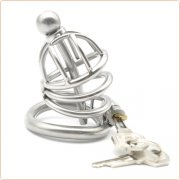 Bent Ring Chastity Cage with Metal Urethral Plug
