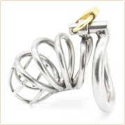 Bent Ring Stainless Steel Chastity Cage