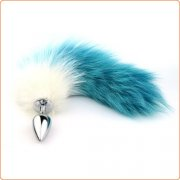 Blue & White Fox Tail Booty Beads Butt Plug