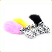 Bunny Tail Rotate Stainless Steel Anal Plug