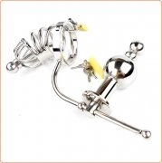 Chastity Cage Urethral Tube With Anal Plug