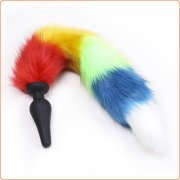 Colorful Fox Tail Silica gel Anal Plug