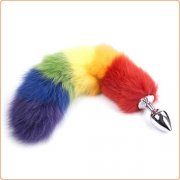Colorful Fox Tail Steel Butt Plug