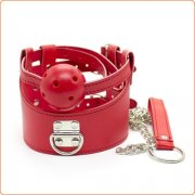 D-Ring  Leather Collar With Ball Gag
