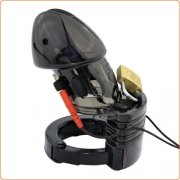 Electro Lockdown Estim Male Chastity Cage - Black