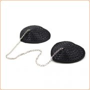 Heart Shaped Black Nipple Covers With Stones