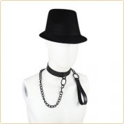 Leather Black Chain Neck Collar