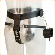 Leather Male Chastity Belt With Cuffs