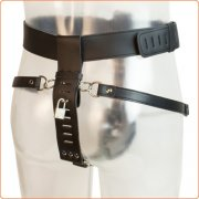 Leather Male Chastity Belt with Removable Butt Plug