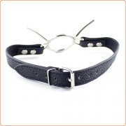 Lichee Pattern Leather Open Mouth Gag