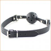 Lichee Pattern Leather Strap Breathable Ball Gag