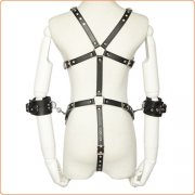 Open Breast Leather Body Harness with Cuffs