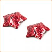 Pair of Shiny Red Sequin Star Nipple Pasties Covers