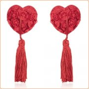 Satin Rose Heart Nipple Pasties With Tassel