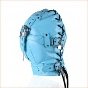 Sensory Deprivation Hood with Open Mouth Gag - Blue