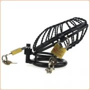Side Entrance Black Twist Chastity Cage