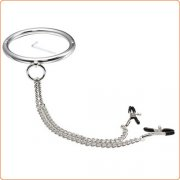 Stainless Steel Chrome Slave Collar with Nipple Clamps
