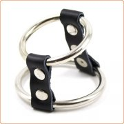 Strap and Steel Cock Ring and Ball Divider