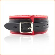 Thick Black And Red Bondage Collar