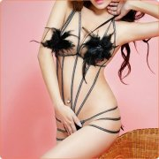 Alluring Feather Decorated Ribbon Crotchless Teddy