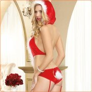 Alluring Hooded Santa Clause Sexy Teddy Costume