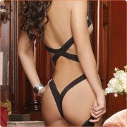 Black Sipmle Ribbon Hot One-piece Suit Teddy