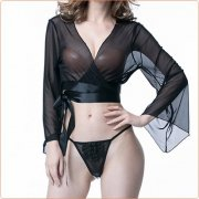 Elegant Bandaged Long-sleeved Bra And Simple T-back
