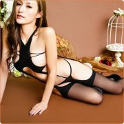 Extremely Alluring Black Hollowed-out Body Stockings