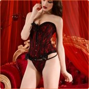Fashion Lady Floral Lace Bowknot Corset Bustier + G-string