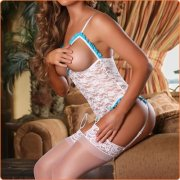 Hot Cupless Crotchless Garter Belt Lace See-trough Bodysuit