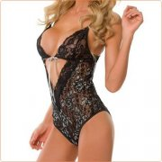 Ladies Back Hollow Out Floral Lace Teddy Sexy Underwear