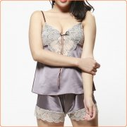 Luxurious Silk Passion Lace Trim Babydoll Two-piece Suit