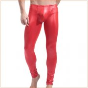 Men Sexy Evening Show Slim Leather Pants