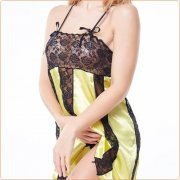 Multi-color Strappy Satin Splicing Dress Lingerie