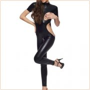 New Leather Cupless Hollowed-out Crotchless Jumpsuit