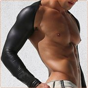 Powerful Faux Leather Splicing One-piece Oversleeves