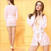 Sexy Lace And Mesh Splicing Night Robe Suit