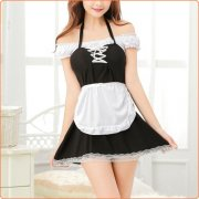 Sexy Lace Halter Housemaid Cosplay Uniform