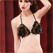 Stylish Leopard Lace Crotchless Lingerie Set