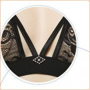 Stylish Solid color See-through Halter Lace Bra & Panty