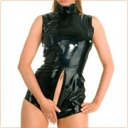 Wild Leather Zipper Crotchless One-piece Suit