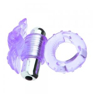 High Quality TPE Exquisite 7 Frequencies Strong Vibration Butterfly Cock Ring