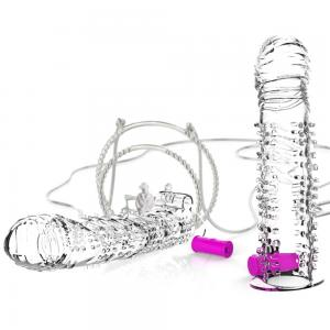Crystal Reusable Realistic Delayed Ejaculation Clitoris Vibrating Penis Sleeve