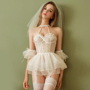 Factory Direct Sale White Simple Bride Style Sexy Dress, Suspender Style Se