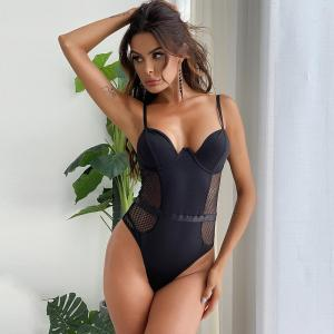 European Hot Selling Sexy Women'S Stitching And Body Shaping Transparent Tight Sexy Under