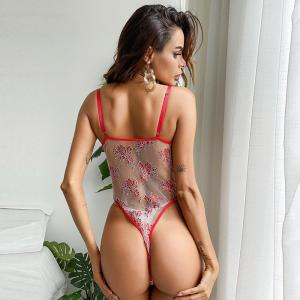 European And Beautiful Girls Sexy Red Lace Mesh Stitching Embroidery Flowers Girls Sexy Perspective U